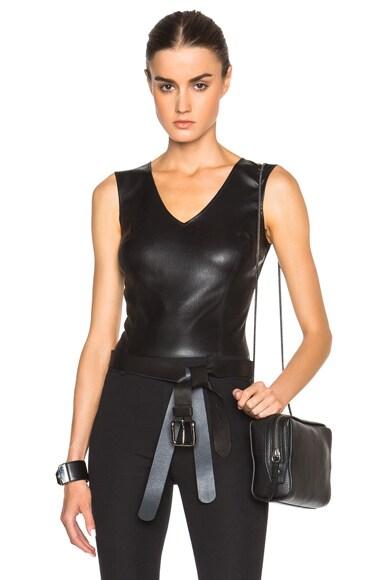 Maison Margiela Stretch Leather & Jersey Bodysuit in Black