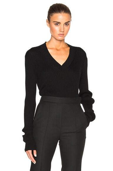Maison Margiela Rib Knit V Neck Sweater in Black
