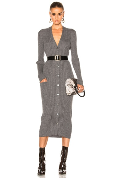 Maison Margiela Gauge Wool Rib Cardigan Dress in Grey Melange