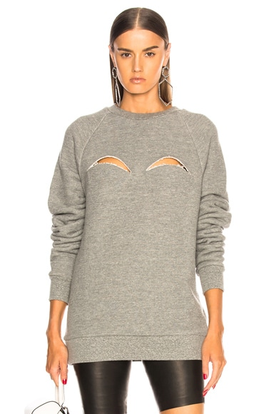 Melange Fleece Cutout Sweatshirt