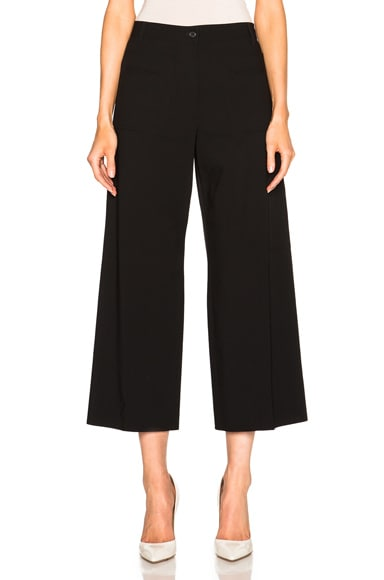 Maison Margiela Wool Popeline Wide Leg Trousers in Black