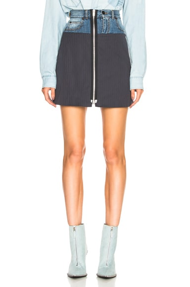 Denim & Knit Zip Front Mini Skirt