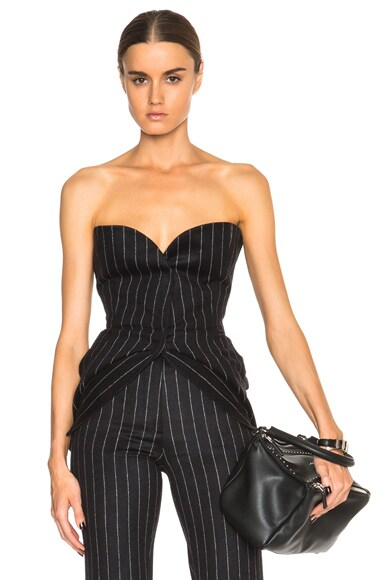 Maison Margiela Pinstripe Wool Angora Bustier in Black & White