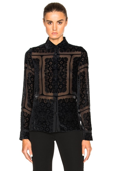 Maison Margiela Printed Devore Blouse in Black
