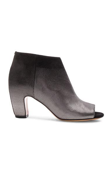 Maison Margiela Peep Toe Leather Booties in Black & Gunmetal