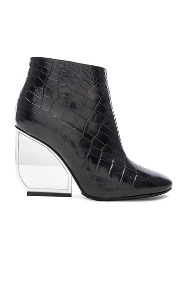Maison Margiela Embossed Leather Booties in Black