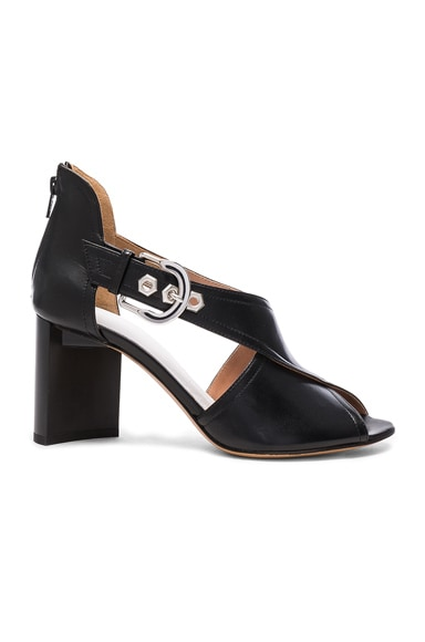 Maison Margiela Leather Buckle Heels in Black