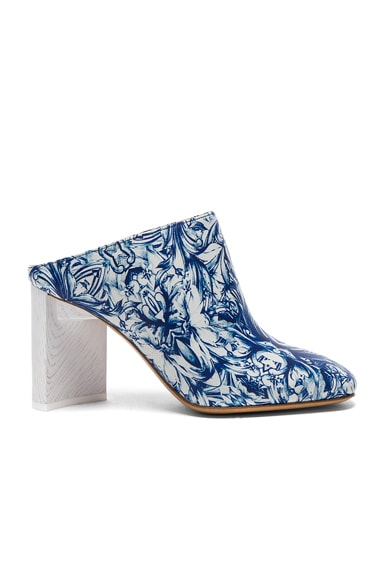 Printed Leather Mules