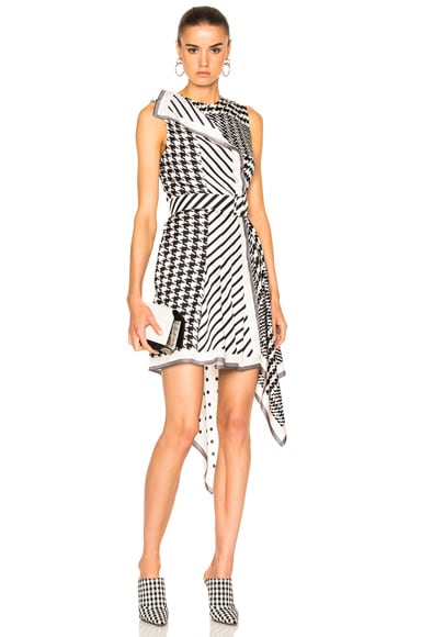 Monse Multi Print Silk Twill Dress in Black & White