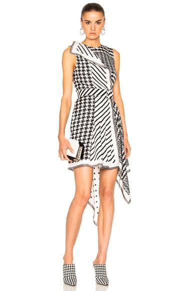 Monse Multi Print Silk Twill Dress in Black & White