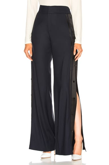 High Waist Wide Leg Side Snap Trouser Pant