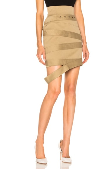 Monse Cotton Canvas Skirt in Khaki