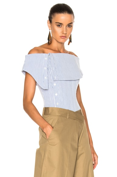 Monse Striped Cotton Dobby Corset Top in Blue & White