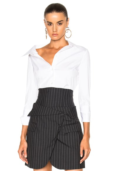 Monse Stretch Cotton Poplin Blouse in White
