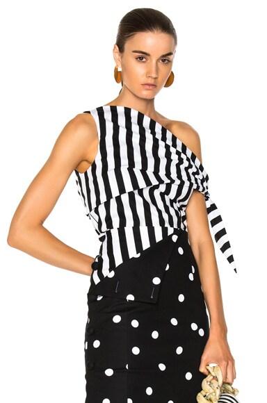 Striped One Shoulder Blouse