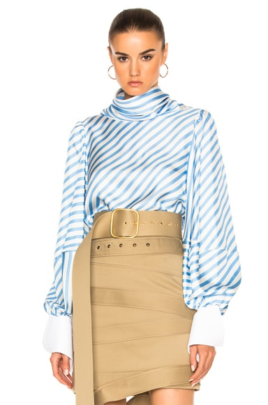 Monse Striped Silk Twill Top in Periwinkle & White