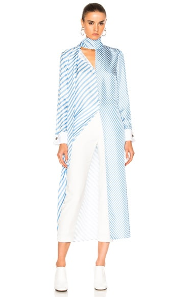 Monse Striped Silk Twill Tunic Top in Periwinkle & White