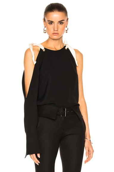 Monse Silk Georgette Top in Black