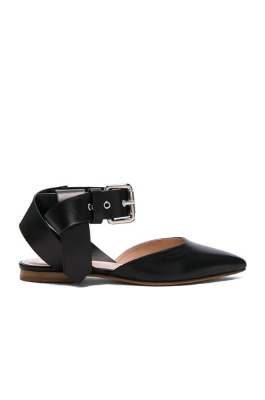 Monse Leather Flats in Black