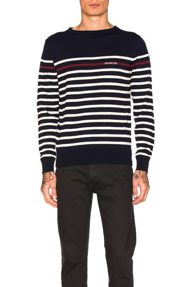 Moncler Stripe Sweater in Navy