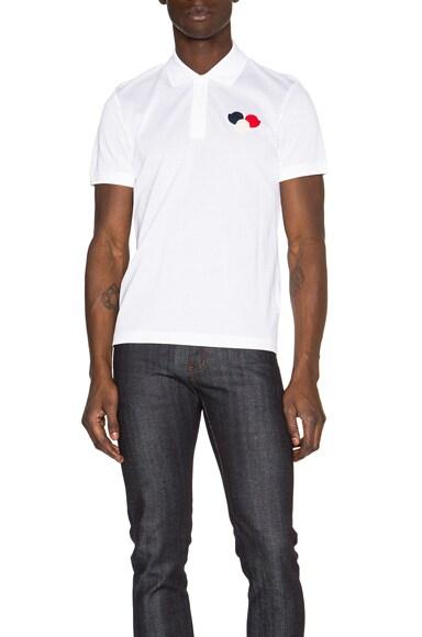 Moncler Short Sleeve Polo in White