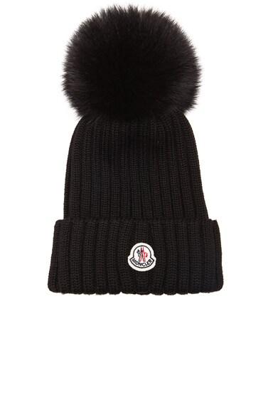 MONCLER Fur Pom Ribbed Beanie in Black