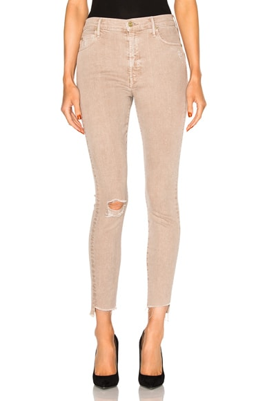 MOTHER Stunner Zip Ankle Step Fray in Sand