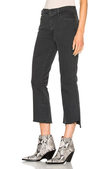 MOTHER Insider Crop Step Fray in Faded Black