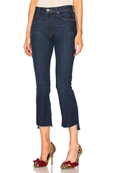 MOTHER Insider Crop Step Fray Skinny in Clean Sweep