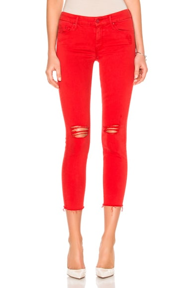 MOTHER Looker Ankle Fray Crop in Firecracker