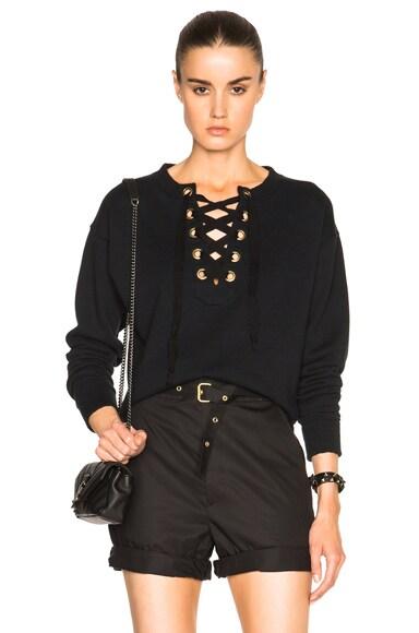 MOTHER Tie Up Easy Sweater in Black