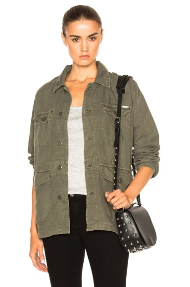 MOTHER Loose Veteran Jacket in Military Green