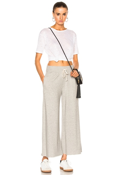 Lounge Roller Crop Fray Pant