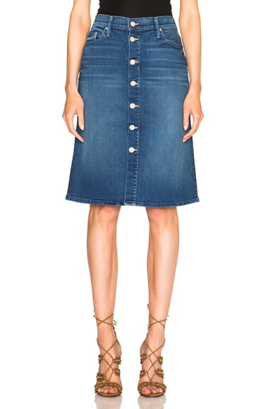 MOTHER High Waisted Midi Skirt in Blue Moon