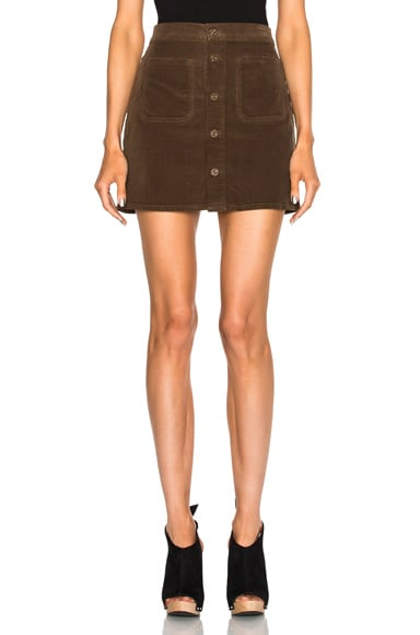 MOTHER Patch Pocket Mini Skirt in Cinnamon