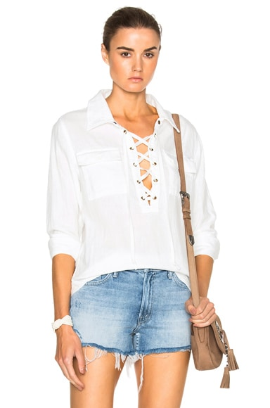 MOTHER Lace Up Frenchie Frenchie Top in White