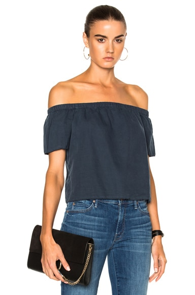 MOTHER Cold Shoulder Top in Shadow Blue
