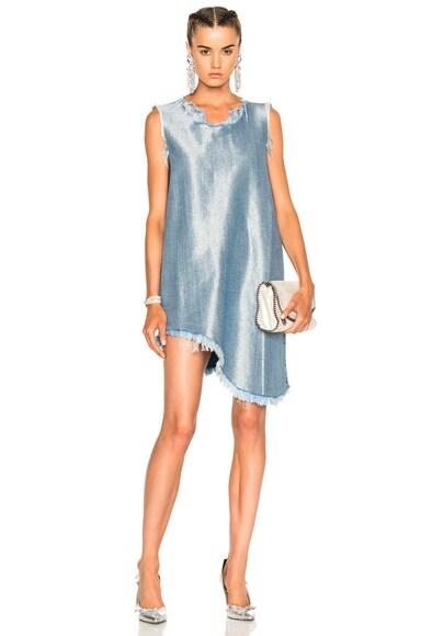 Marques ' Almeida Sleeveless Asymmetric Dress in Silver blue
