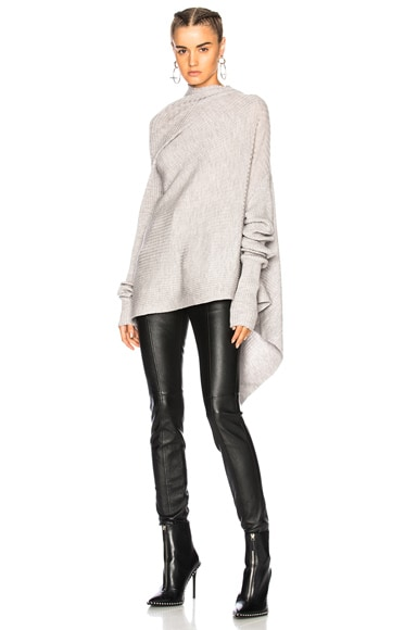 Draped Asymmetric Ribbed Sweater