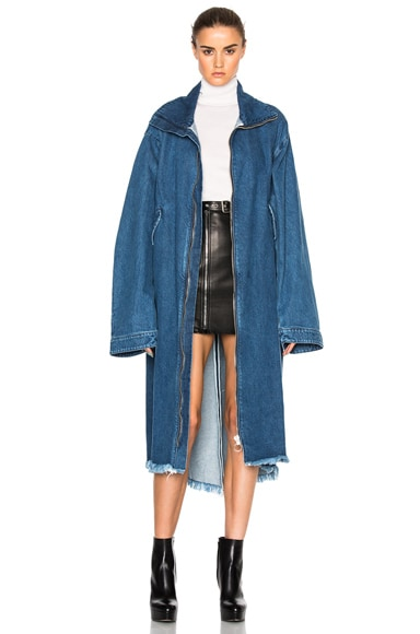 Marques ' Almeida Denim Oversized Coat in Stone Wash