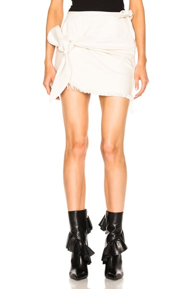 Marques ' Almeida Denim Knotted Mini Skirt in Off White