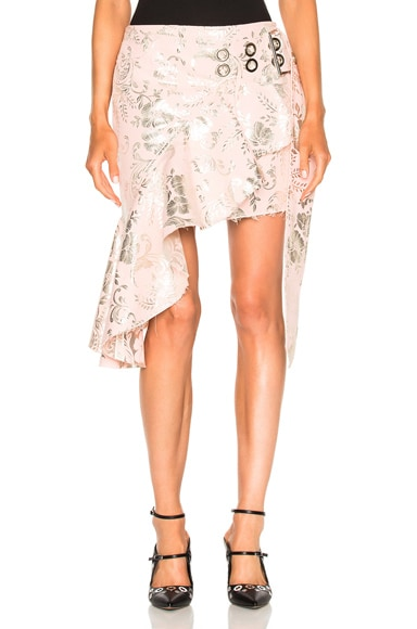 Short Wrap Brocade Skirt