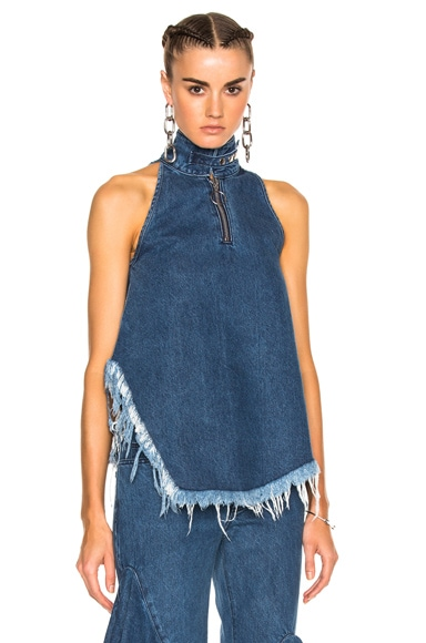 Marques ' Almeida Denim Halterneck Top in Stonewash