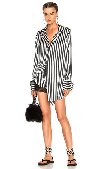 Marques ' Almeida Pyjama Top in Black & White Stripe