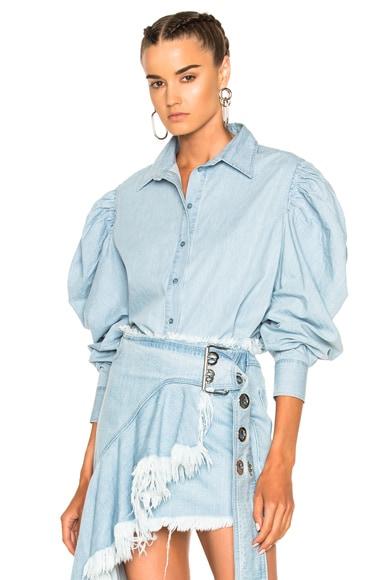 Marques ' Almeida Puff Sleeve Shirt in Chambray
