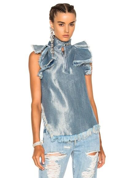 Marques ' Almeida Halterneck Top in Silver Blue