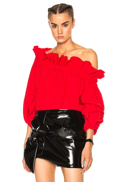 Marques ' Almeida Off Shoulder Gathered Top in Red