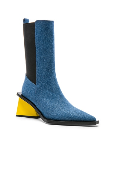 Pointy Mid Denim Heel Boots