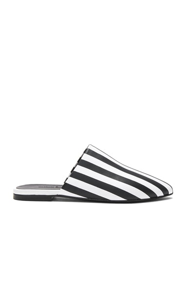 Stripe Leather Flat Pointy Mules