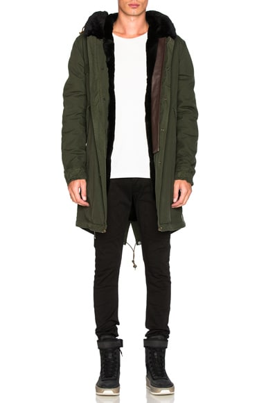 Mr & Mrs Italy Canvas Parka With Shaved Beaver Fur in London Green & Black